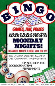 Monday Night Bingo - Early Bird Games 6:30pm - Main Games 7:00pm