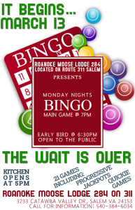Bingo Monday March 13. Early bird at 6:30pm. Main Game at 7pm.