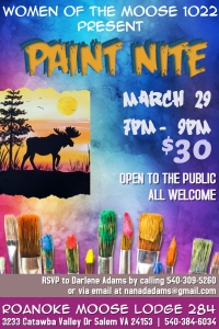Paint Nite March 29, 2017 at 7pm-9pm. $30 includes supplies. Open to the public. All welcome.