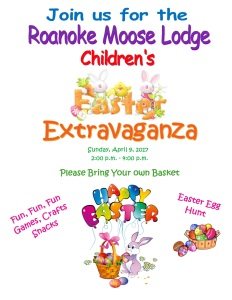 Easter Extravaganza April 9 from 2pm to 4pm. Open to the Public.