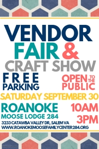 September 30: Vendor Fair & Craft Show