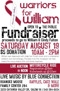 Roanoke Moose Lodge 284 - Warriors for William. August 19th