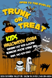 Trunk or Treat Roanoke Moose Lodge October 31 from 6pm